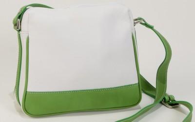 Small Leather Handbag in white and green- Bag Lisa-Bag Fashionista