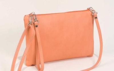 Leather Clutch Bag in Salmon Handbag Cari