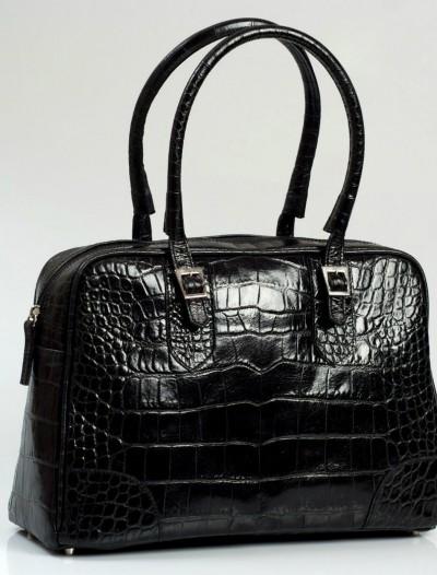 Black faux crocodile tote Lili
