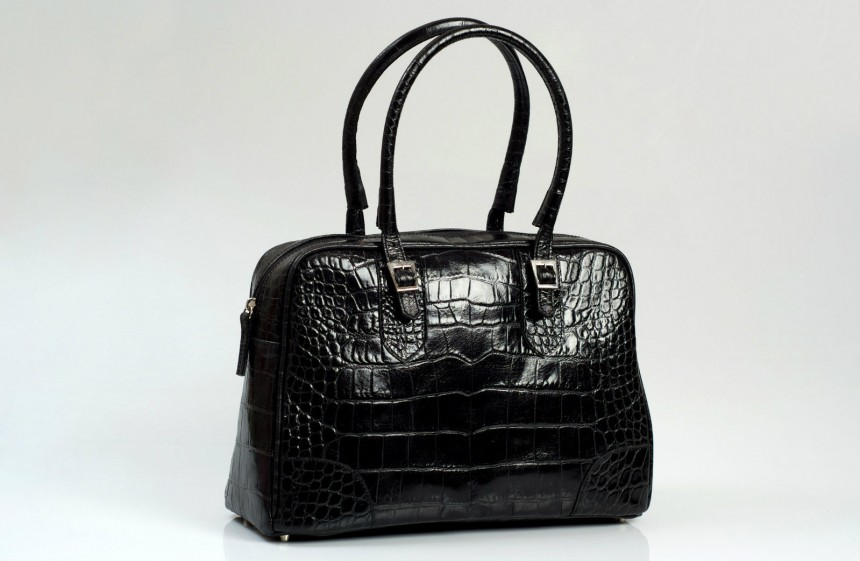 Black faux crocodile tote Lili