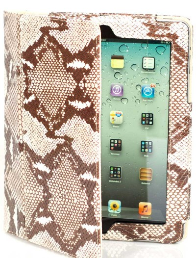 unique-ipad-cover-python-print-beige-leather