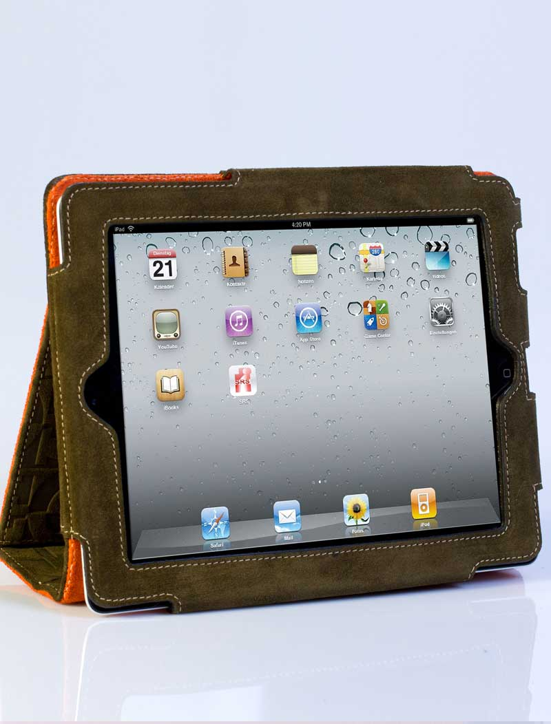 Green and orange leather interior Ipad cover. 1298c8d1ac