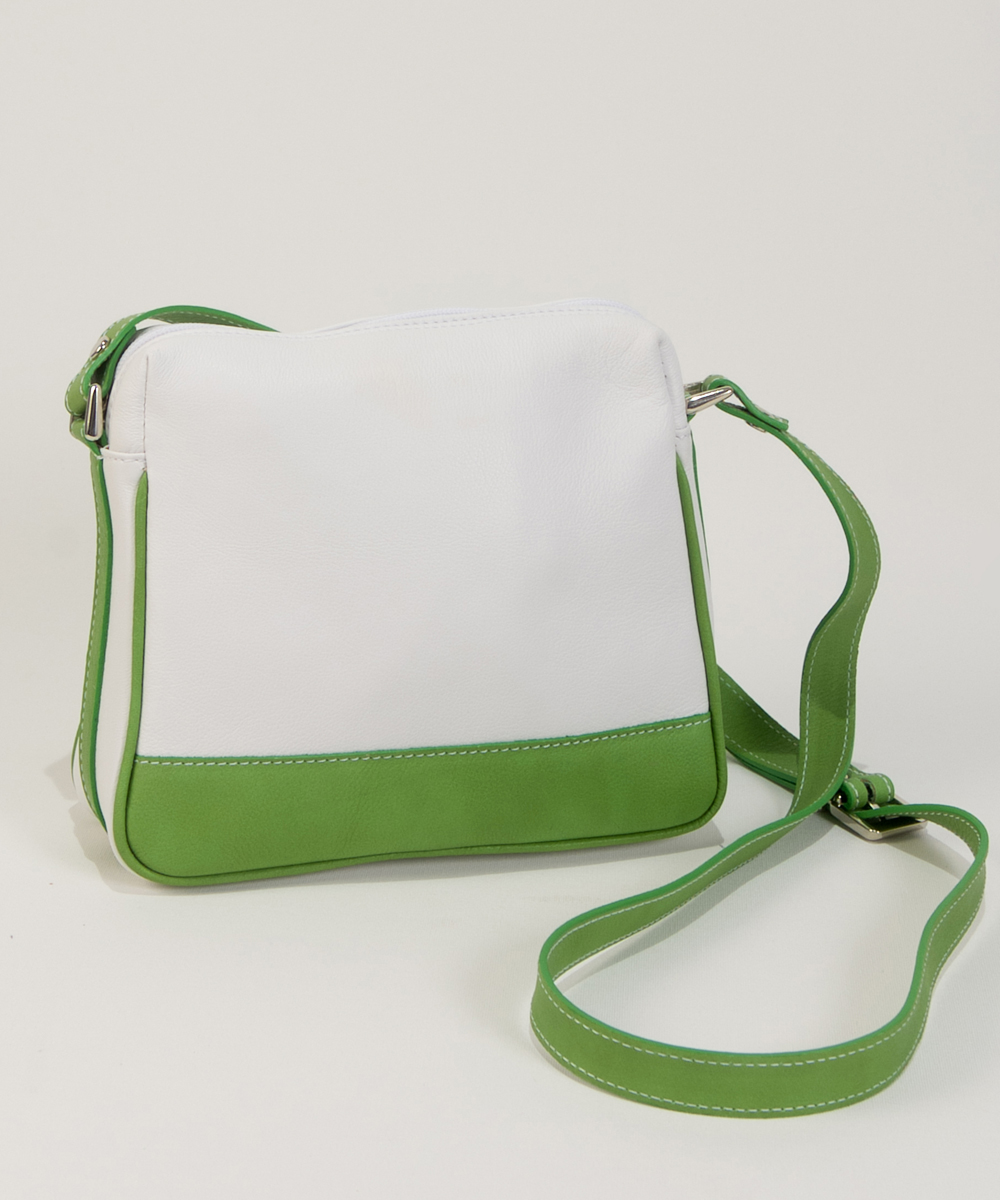 Small Leather Handbag in white and green- Bag Lisa-Bag Fashionista