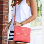 How to wear a small pink handbag