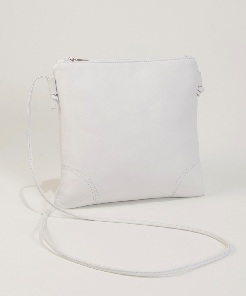 Small white Leather shoulderbag-Bag Fashionista