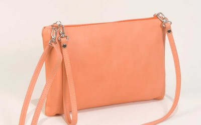 Leather Clutch Bag in Salmon Handbag Cari