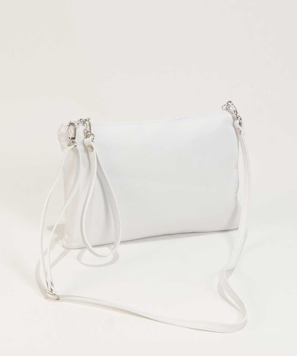Leather Clutch Bag in white Handbag Cari