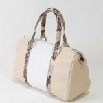 Leather handbag Carolina in cream and beige